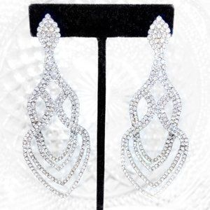 "3.5"" Rhinestone Earrings Prom Pageant Bridal Event"